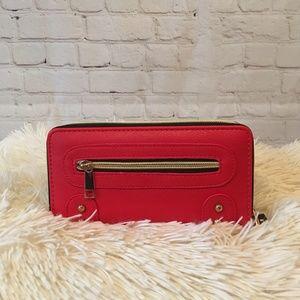 Double Zipper Wallet & Wristlet Strap (Red)